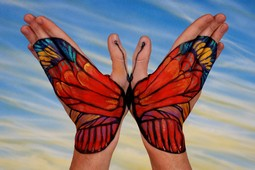 Red Butterfly Hand Painting | Guido Daniele